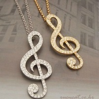 Min.order $10+gift mix order new Fashion full sparkling rhinestone music note pendant necklace Free shipping