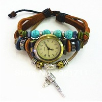Free Shipping Genuine Leather/cow Leather Watches With Turquoise Retro Little Hammer Dress Watch relogio