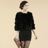 Real rabbit fur coat Short overcoat jacket womens' top winter dress 13016 Black