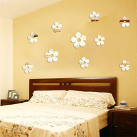 10 pcs small DIY flowers 3D mirror wall sticker home decoration 1MM thick plastic mirror home decor children's room decoration