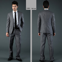 2014 Men's Brand Casual Suits Business Suits Dress Tuxedo Black/Grey /Navy Blue Size S-4XL