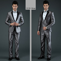 High Quality Men Grey Suits Brand Business Suits Formal Dress Tuxedo Two Pieces S-XXXL