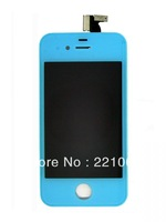 DHL Freeshipping  Front Screen (Skyblue) Assembly(Digitizer+LCD) for iPhone 4  50pcs/lot