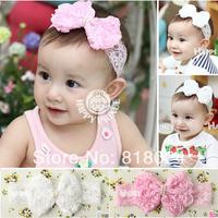 5pcs/lot New 2014 Infant Toddler Baby Headband Big Knot Flower Pearl Headbands Elastic Lace Girl Headwear Hair Accessories