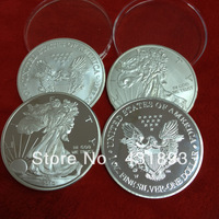 Mix Polish and dull polish eagle brass silver plated coin order,20pcs free shipping Non-magnetic plated 2000 American eagle coin