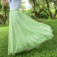 Chiffon Maxi Skirts Bohemian Woman Skirt Beach Floor-length Summer Pleated Ruffles Plus Size XXXXL