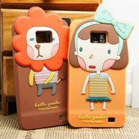 Silicone soft 3D cartoon animal Lion/Girl/Bear/Rabbit/Koala/Elephant protective case cover for Samsung galaxy S2 I9100