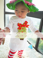 2014 new Christmas girls cute clothing set,100%cotton casual ,striped half girl clothing set,5/lot,o-neck,free shipping