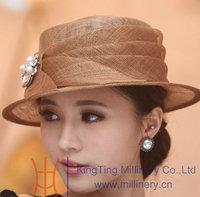Free Shipping High Quality Fashion Elegant Hat Summer Sun-shading  Sinamay Hat Church Hat Summer Women Dress