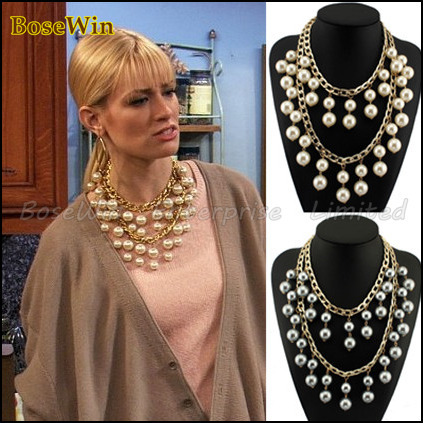 Fashion Double Gold Chains Cross Pearls Beads Pendant Statement Necklaces 2013 New Design Costume Jewellery CE1227(China (Mainland))