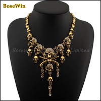 Fashion Pirates of the Caribbean Design Choker Jewelry Vintage Bones Chains Rhinestones Skulls Pendants Necklaces CE1235