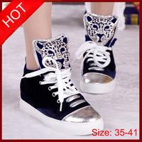 2015 New Women Sneakers Velvet Rhinestone Leopard Head Lace Up Height Increasing Sneakers for Women Platforms Skatboarding Shoes