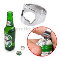 Free Shipping Wholesales New comming finger ring stainless steel beer bottle opener Bar Beer Tool