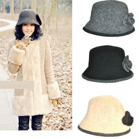 2013 autumn Winter  the original single British style elegant Wool Caps Basecaps  Nepalese hat Flower basin Wholesale 10PCS/LOT