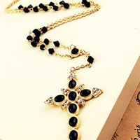 Shopping festival Fashion beautiful black cross with sparkling rhinestone pendant necklace Free shipping