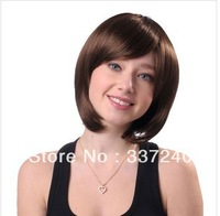 Oblique bangs repair face female sweet pear head wig short volume / full wig wig light coffee color/Free shipping