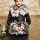 13055 Real Leather Coat overcoat with fox fur silver fox collar and trim jacket outwear garment  winters' coat(China (Mainland))