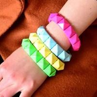 Sheegior Fashion fluorescent Geometric Square women Elastic Strand bracelet Free shipping