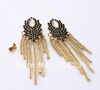 Fashion Accessories whole Network Full Rhinestone Long Tassel Girl Earring