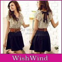 Korean Women Summer New Fashion Chiffon Dress Short-sleeves Dots Polka Waist Mini dresses cute Beige&Black With Belt