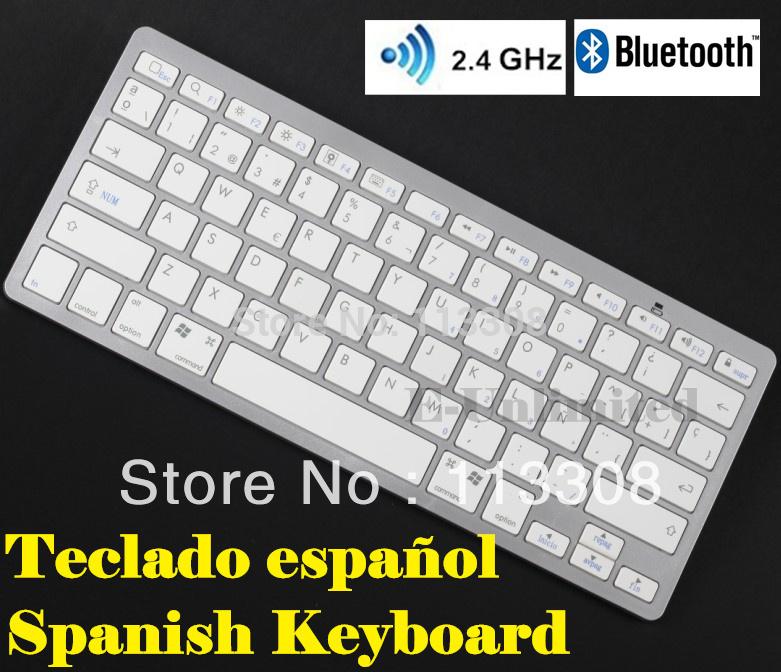 Spanish Bluetooth Wireless Keyboard Spanish Keyboard for Mac Ipad Iphone & Windows,Free Shipping(China (Mainland))