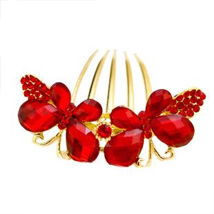 Colour bride red rhinestone insert comb costume marriage accessories flower hair accessory cheongsam hair accessory