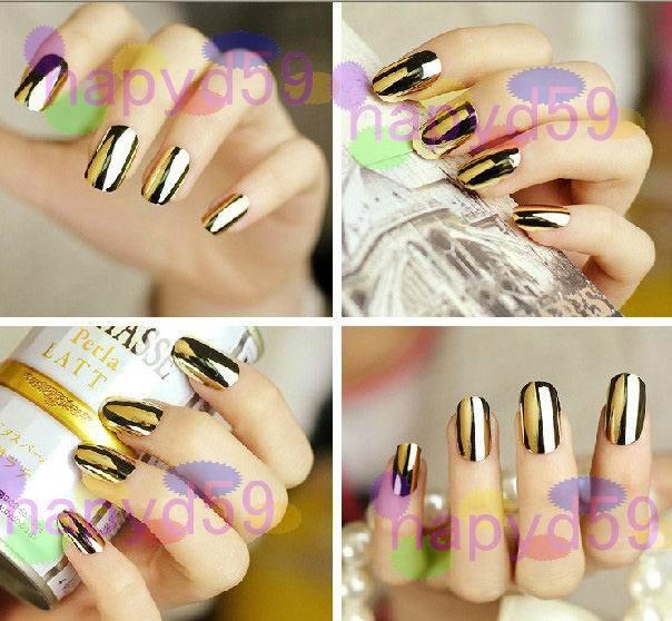 free ship 45set 12pcs/set electroplating fingernail metal false nails optional beauty acrylic nail art false fake nail tips(China (Mainland))