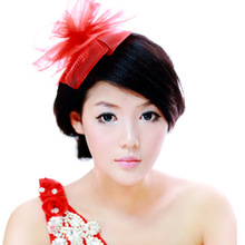 Colour bride red gauze hair accessory insert comb feather hair accessory marriage accessories