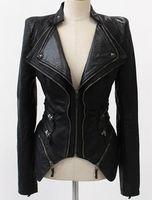 2013 New Women fashion Zipper collar snake rock streetwear Stand Shoulder Pu Leather slim Jacket Coat Autumn winter Outerwear