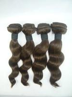 """4pcs/lot  8""""-26"""" #4 Medium Brown Loose Wavy 100% Human Peruvian Hair Extension Guaranteed Quality,UPS+DHL FREE SHIPPING!!"""