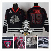 2013 Stanley Cup Champions Patch Chicago Blackhawks 19# Jonathan Toews Black Ice Skull Heads Ice Hockey Jersey Free Shipping