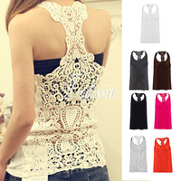 Fashion Girl Womens Sexy Back Hollow-Out Lace Cami Shirt Blouse Cotton Tank Tops