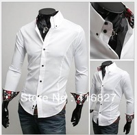 Free Shipping New Mens Fashion Shirts Casual Slim Fit Stylish Mens Dress Shirts Colours:Black,White,Red US Size S,M,L,XL C10