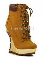2013 Latest Fashion Brand New Lace Up Platform Heel Less Mirror Chrome Wedges  Anklet boots/Black camel Leopard plus size 5.5-11
