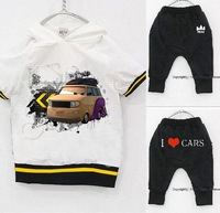 Promotion 2013 hot sale new fashion i love car boys clothes set  2~9  summer kids clothes suit  baby clothing