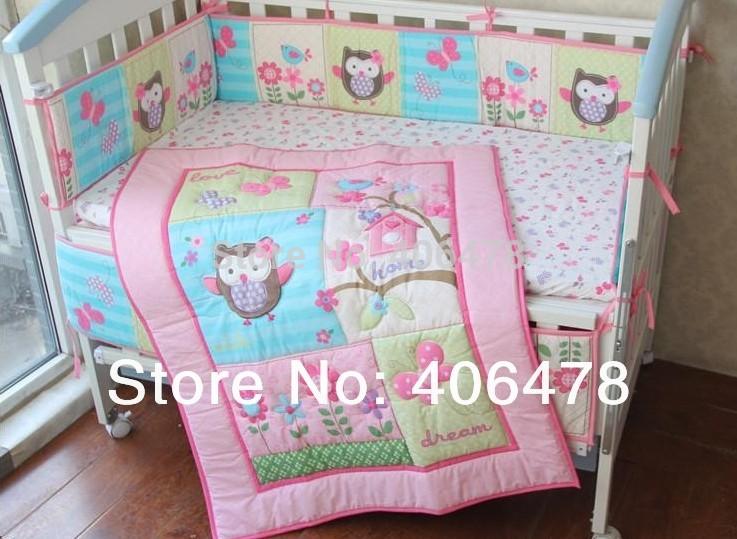 8pcs set baby crib set girls pink owl design cotton cartoon quilt