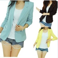 Tops Fashion Womens Suit Tunic Foldable sleeve candy Color Blazer Jacket shawl cardigan Coat,S,M,L,1140