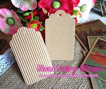 Wholesale Scallop Kraft + Corrugated paper Blank Hang tag, Retro DIY Gift tag, Table Number cards, 400pcs/lot Free Shipping(Hong Kong)