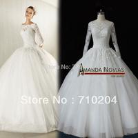 New Arrivals Actual Photos Long Sleeve Ball Gown Wedding Dress 2015