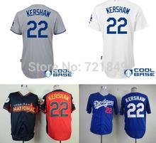 Free shipping LA Los Angeles Dodgers shirts #22 Clayton Kershaw white,gray,blue all star Baseball Jersey wholesale in china(China (Mainland))