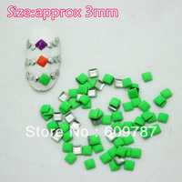 Free Shipping 2000pcs/lot 3mm Fluorescent Green Color Square 3d metal nail studs nail decorations
