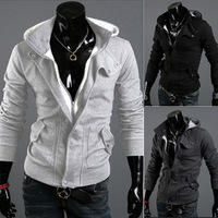Free shipping 2013 famous designer leisure casual Korean fashion Cool Cotton male men's Sweater Hoodies new 3 colors M~XXL W04