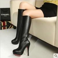 Ladies Sexy Winter Knee High Boots Heels Platform Red Bottom Women Booties Female Shoes Black With Zip MZ8069-3
