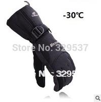 Free shipping Men Winter Ski sport waterproof gloves double gloves black -30 degree warm riding snowboard Motorcycle gloves