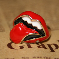 Min.order $10 mix order Fashion Vintage Funny Red Sex Mouth Women Rings Free shipping