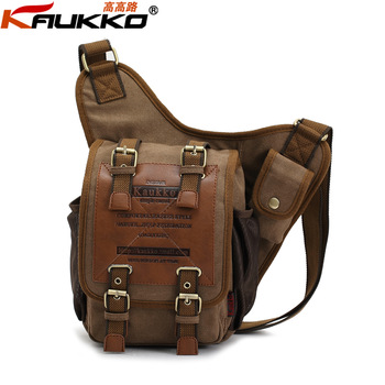 KAUKKO brand irregular style new 2013 vintage casual canvas bag men messenger bag man cross body shoulder bags women KKK003