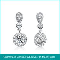 100% genuine 925 sterling silver zirconia earrings, 2014 earrings in 925 silver, sterling silver jewelry 925 (B0271)