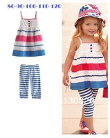 Free Shipping Brand Child Girl Suit A-Line Suspenders Skirt +Striped Leggings Baby Girls Clothing Children Clothes