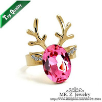 2013 New Arrival Yellow Gold Plated Crystal Deer Head Adjustable Women's Rings Animal Jewelry Free Shipping