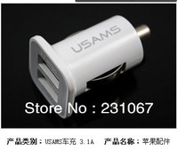 100% Brand 10pcs/lot Output 5V 3.1A Dual Port USB Car Charger For iPhone/iPAD/Samsung Motorola Two Colors Black and White CA-026